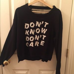 'DONT KNOW DONT CARE' Crop Sweater
